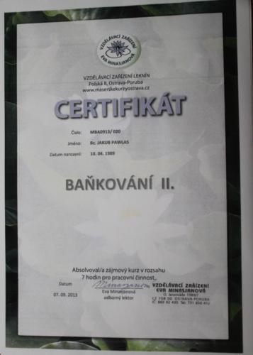 Baňkování certifikát II