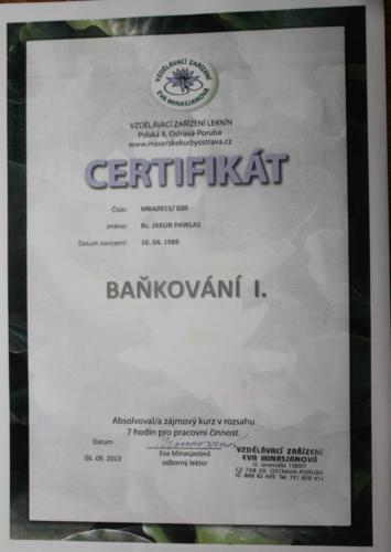 Baňkování certifikát I